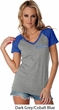 Blue Dodge Charger Pocket Print Ladies Contrast V-Neck Shirt