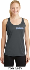Blue Dodge Charger Pocket Print Ladies Dry Wicking Racerback Tank Top
