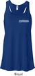 Blue Dodge Charger Pocket Print Ladies Flowy Racerback Tanktop