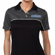Blue Dodge Charger Pocket Print Ladies Polo Shirt