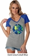 Blue Earth Peace Ladies Contrast V-Neck Shirt