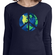 Blue Earth Peace Ladies Long Sleeve Shirt