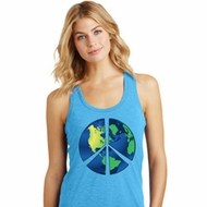 Blue Earth Peace Ladies Racerback Tank Top