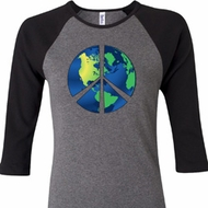 Blue Earth Peace Ladies Raglan Shirt