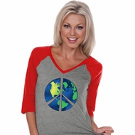 Blue Earth Peace Ladies Three Quarter Sleeve V-Neck Raglan Shirt