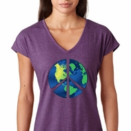 Blue Earth Peace Ladies Tri Blend V-Neck Shirt