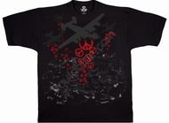 Bombs Away T-Shirt -  Airplane Peace Rebel Adult Black Tee
