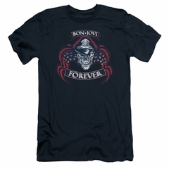 Bon Jovi Slim Fit Shirt Forever Skull Navy Blue T-Shirt