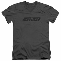 Bon Jovi Slim Fit V-Neck Shirt New Logo Charcoal T-Shirt