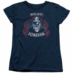 Bon Jovi Womens Shirt Forever Skull Navy Blue T-Shirt