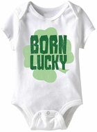 Born Lucky Funny Baby Romper White Infant Babies Creeper
