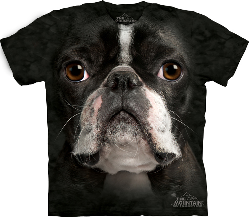 Boston terrier shirt tie dye dog face t shirt adult tee for Dog t shirt for after surgery
