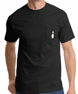 Bowling Pin T-shirt - Single Pin - Mens Pocket Tee