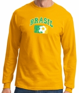Brazil Mens T-shirt - Long Sleeve Brazil Tee Shirt - Gold