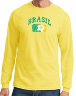 Brazil Mens T-shirt - Long Sleeve Brazil Tee Shirt - Yellow