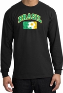 Brazil Soccer Shirt Futbol Long Sleeve T-Shirt Black