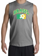 Brazil Soccer Shirt Futbol Muscle Shirt Sports Grey