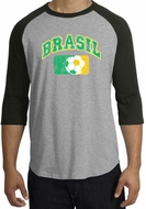 Brazil Soccer Shirt Futbol Raglan T-Shirt Heather Grey/Black