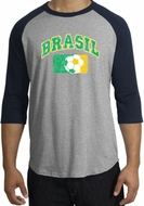 Brazil Soccer Shirt Futbol Raglan T-Shirt Heather Grey/Navy