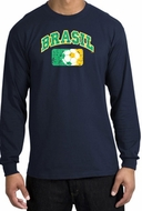 Brazil Soccer T-shirt Futbol Long Sleeve Shirt Navy