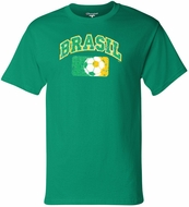 Brazil Soccer Shirt - Brasil Tagless Mens Tee - Kelly Green