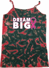 Breast Cancer Awareness Dream Big Ladies Tie Dye Camisole Tank Top