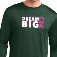 Breast Cancer Awareness Dream Big Mens Dry Wicking Long Sleeve Shirt