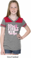 Breast Cancer Awareness Go Fight Win Girls Football Shirt