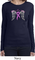 Breast Cancer Awareness Heaven Can Wait Ladies Long Sleeve Shirt