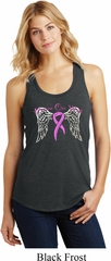 Breast Cancer Awareness Heaven Can Wait Ladies Racerback Tank Top