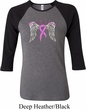 Breast Cancer Awareness Heaven Can Wait Ladies Raglan Shirt