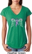 Breast Cancer Awareness Heaven Can Wait Ladies Tri Blend V-Neck Shirt