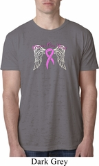 Breast Cancer Awareness Heaven Can Wait Mens Burnout Shirt