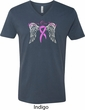 Breast Cancer Awareness Heaven Can Wait Mens V-Neck Shirt