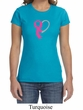 Breast Cancer Awareness Ladies Shirt Ribbon Heart Crewneck Tee T-Shirt