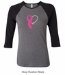 Breast Cancer Awareness Ladies Shirt Ribbon Heart Raglan Tee T-Shirt