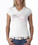 Breast Cancer Awareness Ladies T-shirts V-neck Pink For My Daughter