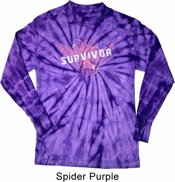 Breast Cancer Awareness Survivor Wings Long Sleeve Tie Dye