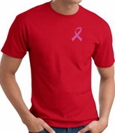 Breast Cancer Awareness T-shirt Pink Ribbon Pocket Print Adult Red Tee