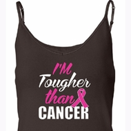 Breast Cancer Awareness Tanktop Tougher Than Cancer Built in Bra Tank