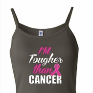 Breast Cancer Awareness Tanktop Tougher Than Cancer Spaghetti Tank Top