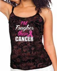 Breast Cancer Awareness Tanktop Tougher Than Cancer Tie Dye Tank Top