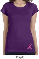 Breast Cancer Awareness Pink Ribbon Bottom Print Ladies Shirts