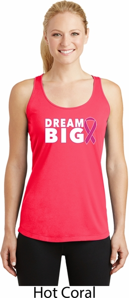 Breast Cancer Dream Big Ladies Dry Wicking Racerback Tank Top - Dream Big Ladies -1371