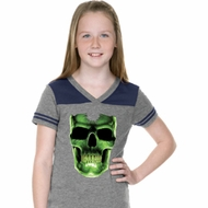 Halloween Glow Bones Girls Football Shirt
