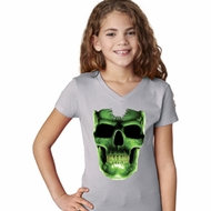 Halloween Glow Bones Girls V-Neck Shirt