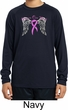 Breast Cancer Heaven Can Wait Kids Dry Wicking Long Sleeve Shirt