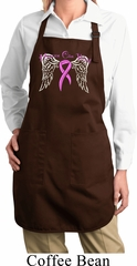 Breast Cancer Heaven Can Wait Ladies Full Length Apron with Pockets