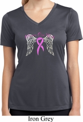Breast Cancer Heaven Can Wait Ladies Moisture Wicking V-neck Shirt