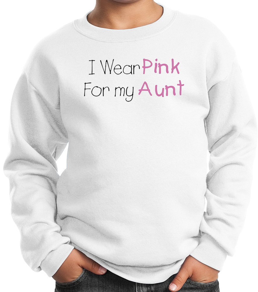 Breast cancer kids sweatshirt wear pink for my aunt white for How to not sweat through dress shirts